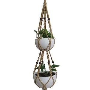 Other - Macrame Double Plant Holder Hanger Jute Boho Hippy